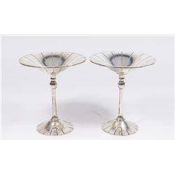 Pair Sterling Silver Compotes