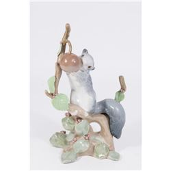 Lladro Squirrel Reaching for a Fruit Figure