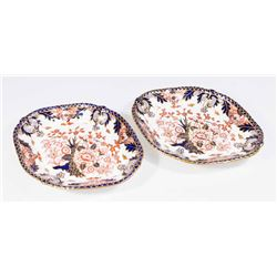 Pair 19th C. Royal Crown Derby Oval Serving Trays