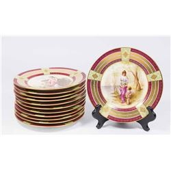 Set 12 Royal Vienna Hand Paint Decorated Plates