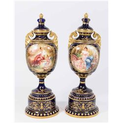 Pair Vienna Style Covered Vases