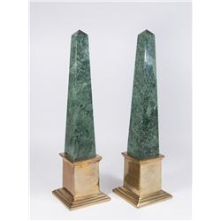 Pair Modern Green Obelisks with Brass Bases