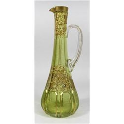 :Moser Style Etched & Gilt Enamel Glass Ewer
