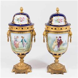 Pair 19th C. Sèvres French Porcelain Covered Urns