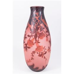 Emile Galle Red & Brown Floral Vase