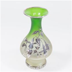 Art Glass Silver Overlay Green Vase with Flowers