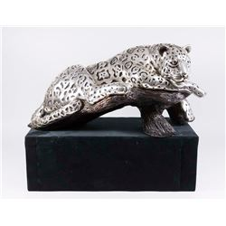 Silvered Bronze Sculpture, Leopard on a Branch