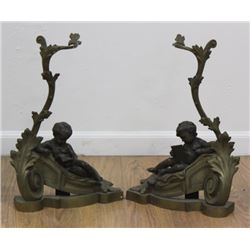 Pair French Bronze Figural Chenets