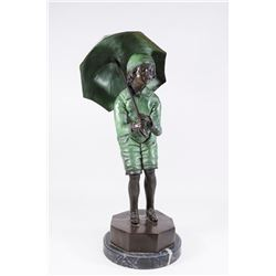 Reproduction Bronze Sculpture, Child with Umbrella