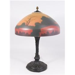 Reverse Painted Scenic Lamp