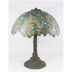 Bronze Base Slag Glass Lamp