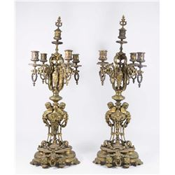 Pair Bronze Candelabra with Snuffer