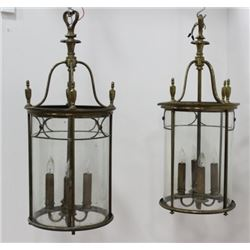 Pair Brass & Crystal 4-Light Lanterns