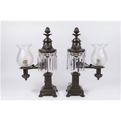 Pair Astrolabe French Empire Bronze Lamps
