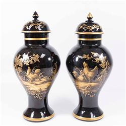Pair Black Glass Decorated Covered Urns