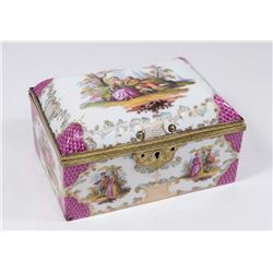 19th C. Continental Hand Painted Porcelain Box