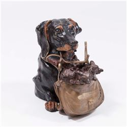 Bronze Dog & Pups Inkwell