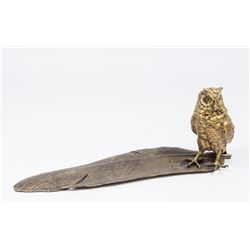 Owl Inkwell with Attached Feather-Form Pen Tray