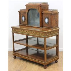 Victorian Burlwood Cabinet with Wedgwood Plaques