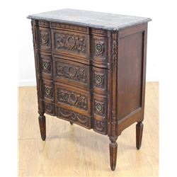 Belgian Carved Walnut Black Marble Top Commode