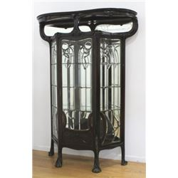 Continental Art Nouveau Mahogany Display Cabinet