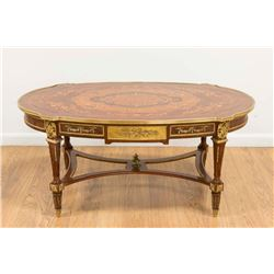 French Style Inlaid & Bronze Mounted Coffee Table