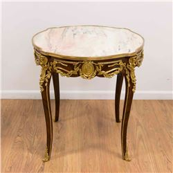 Marble Top Bronze Mounted French Style Table