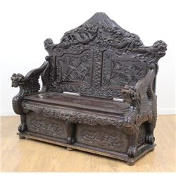 Antique Oriental Figural Carved Bench