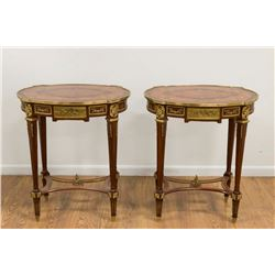 Pair French Style Inlaid Side Tables