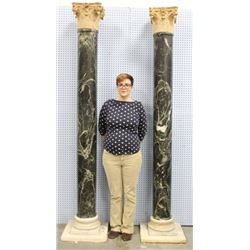 Pair Neoclassic Style Verde Antico Marble Columns