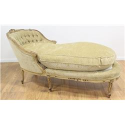 Paint Decorated French Style Chaise Longue