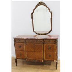 Marble Top Inlaid Bronze Mounted Commode