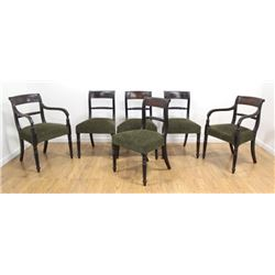 Set 6 Regency Style Brass Inlaid Mahogany Chairs