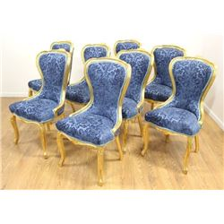 Set 8 Gold Leaf Dining Room Chairs