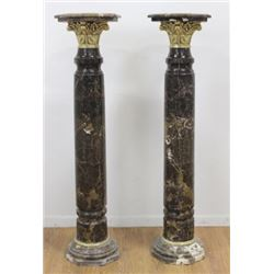 :Pair Colored Marble Palace Size Pedestals