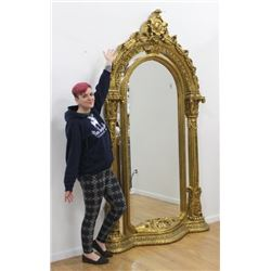 Heavily Carved Giltwood Palace Size Entry Mirror