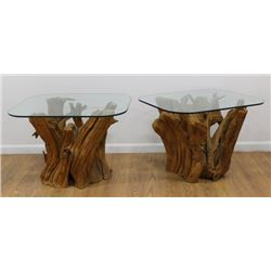 Pair Mid-Century Driftwood Side Tables