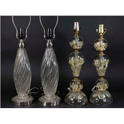 :2 Pairs of Venetian Style Glass Lamps