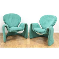 Pair Olivier Mourgue Upholstered Armchairs