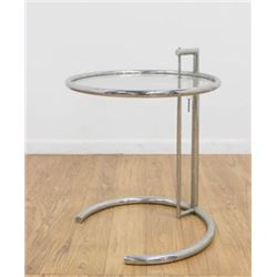 :Eileen Gray Round Chrome & Glass Side Table