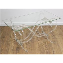 Side Table with Lucite Base and Glass Top