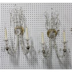 Pair Crystal 2-Arm Sconces