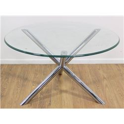 Mid-Century Modern Chrome Base Glass Table