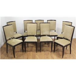 Set 9 French Mid-Century Ebonized Chairs