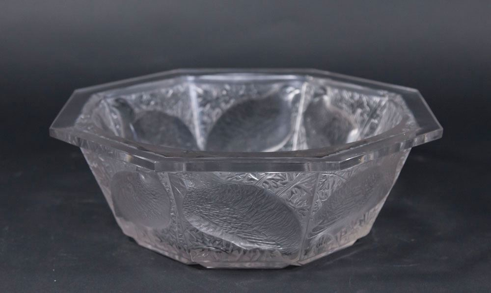 Lalique Bowl With 8 Panel Side Of Birds