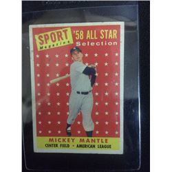 1958 MICKEY MANTLE ALL STAR COLLECTION SPORTS MAGAZINE BASEBALL TRADING CARD #487