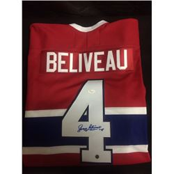HAND SIGNED JEAN BELIVEAU HOCKEY JERSEY MONTREAL CANADIANS W/ COA