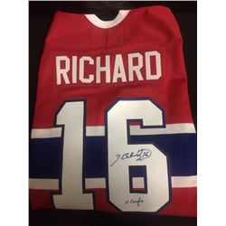 HAND SIGNED HENRI RICHARD HOCKEY JERSEY MONTREAL CANADIANS W/ COA