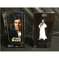 STAR WARS SIDESHOW COLLECTIBLES HAN SOLO & LEIA ORGANA FIGURES BRAND NEW IN BOX