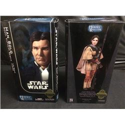 STAR WARS SIDESHOW COLLECTIBLES HAN SOLO & PRINCESS LEIA FIGURES BRAND NEW IN BOX